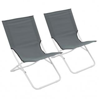 vidaXL Klappbare Strandstühle 2 Stück Grau