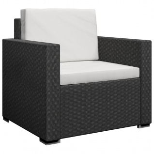 vidaXL 13-tlg. Garten-Lounge-Set mit Auflagen Poly Rattan Schwarz - Vorschau 4