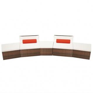 vidaXL 5-tlg. Garten-Lounge-Set mit Auflagen Poly Rattan Braun - Vorschau 3