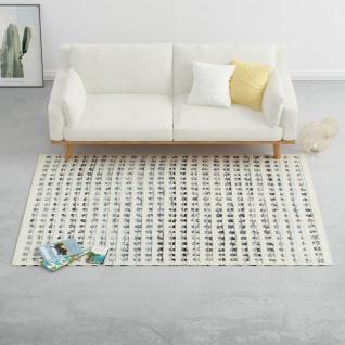 vidaXL Teppich Denim Wolle 160×230 cm Blau/Weiß