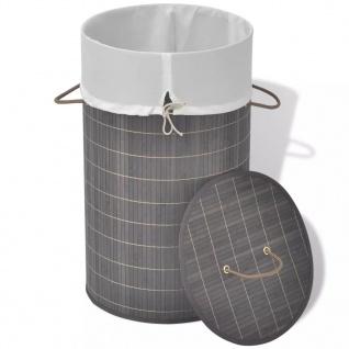 vidaXL Wäschekorb aus Bambus Rund Dunkelbraun - Vorschau 4