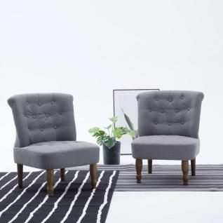 vidaXL Französische Stühle 2 Stk. Hellgrau Stoff