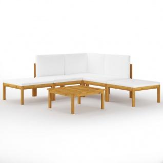 vidaXL 6-tlg. Garten-Lounge-Set mit Kissen Creme Massivholz Akazie