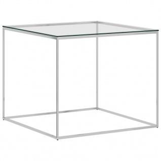 vidaXL Couchtisch Silbern 50x50x43 cm Edelstahl und Glas