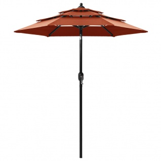 vidaXL Sonnenschirm mit Aluminium-Mast 3-lagig Terracotta-Rot 2 m