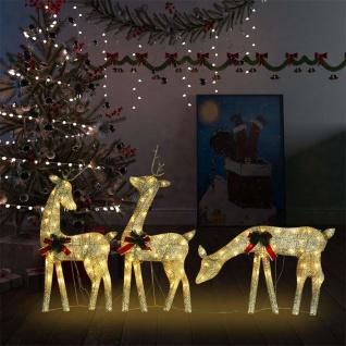 vidaXL Weihnachtsdekoration Rentiere 270x7x90 cm Golden Warmweiß