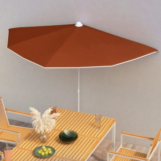 vidaXL Halb-Sonnenschirm mit Mast 180x90 cm Terracotta-Rot