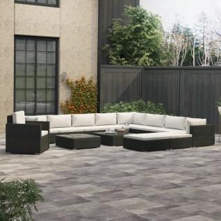 vidaXL 13-tlg. Garten-Lounge-Set mit Auflagen Poly Rattan Schwarz - Vorschau 1