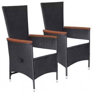 vidaXL Gartenstühle 2 Stk. mit Polstern Poly Rattan Schwarz