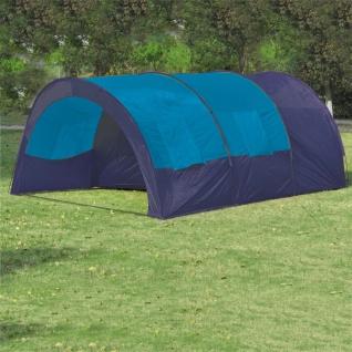 vidaXL Campingzelt 6 Personen Stoff Blau/Dunkelblau