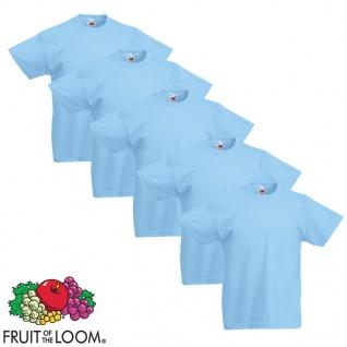 Fruit of the Loom Kinder-T-Shirt Original 5 Stk. Blau Größe 128