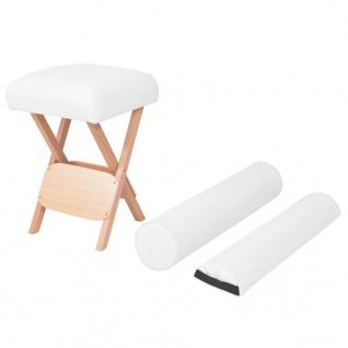vidaXL Massage-Klapphocker mit 12 cm Dickem Sitz & 2 Nackenrollen Weiß