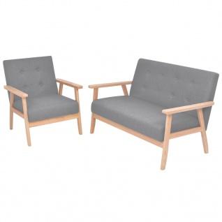 vidaXL Sofa-Set 2-tlg. Stoff Hellgrau