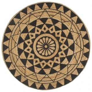 vidaXL Teppich Handgefertigt Jute mit Schwarzem Aufdruck 150 cm