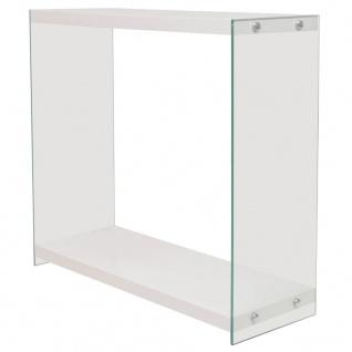 vidaXL Konsolentisch mit Regal Glas MDF Hochglanz Weiß