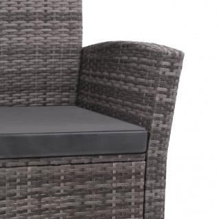 vidaXL 4-tlg. Garten-Lounge-Set mit Auflagen Poly Rattan Grau - Vorschau 4
