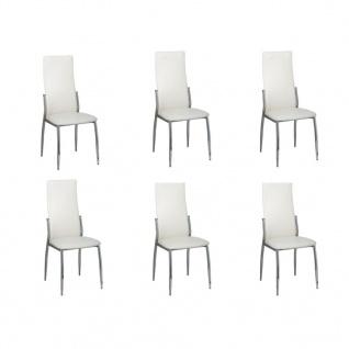Esszimmer Stühle (6er Set) weiß Chrom & Kunstleder