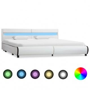 vidaXL Bettgestell mit LED Weiß Kunstleder 180ß200 cm