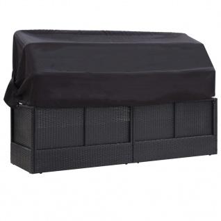 vidaXL Outdoor-Sofabett mit Sonnendach Poly Rattan Schwarz - Vorschau 5