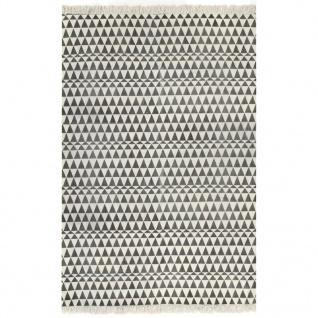 vidaXL Kelim-Teppich Baumwolle 120x180 cm mit Muster Schwarz/Weiß