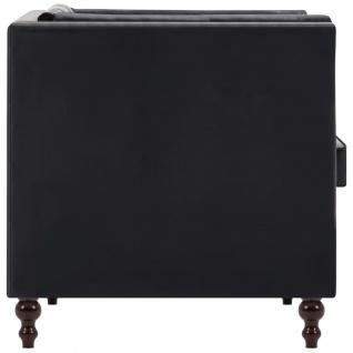 vidaXL Chesterfield-Sofa 3-Sitzer Kunstlederbezug Schwarz - Vorschau 5