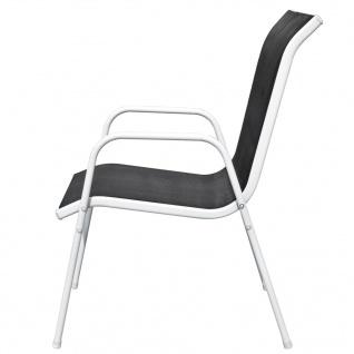 vidaXL Stapelbare Gartenstühle 6 Stk. Stahl und Textiline Schwarz - Vorschau 4