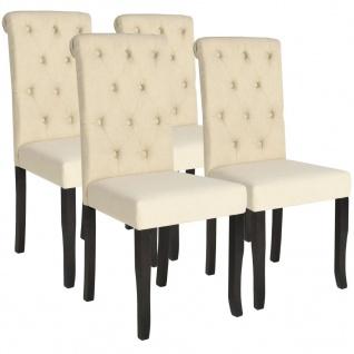 vidaXL Esszimmerstühle 4 Stk. Cremeweiß