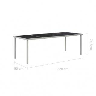vidaXL Garten-Esstisch Schwarz 220 x 90 x 74, 5 cm Stahl - Vorschau 5