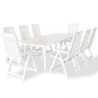 vidaXL 9-tlg. Garten-Essgruppe Kunststoff Weiß