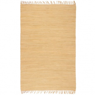 vidaXL Handgewebter Chindi-Teppich Baumwolle 200x290 cm Beige