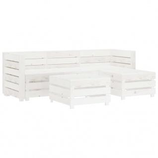 vidaXL 5-tlg. Garten-Lounge-Set aus Paletten Holz Weiß