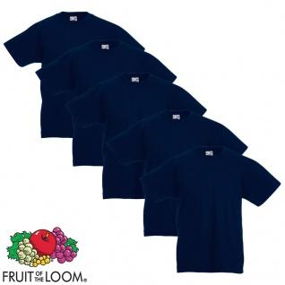 Fruit of the Loom Kinder-T-Shirt Original 5 Stk. Marineblau Größe 140