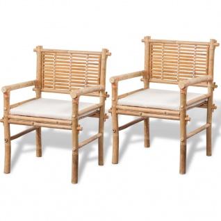 vidaXL Bistro-Set mit Beistelltisch und Sitzkissen Bambus - Vorschau 3