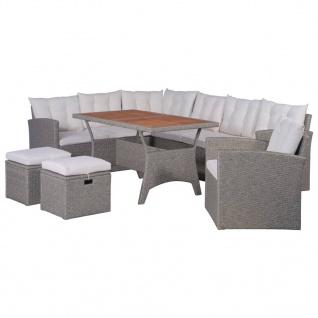 vidaXL 6-tlg. Garten-Lounge-Set mit Auflagen Poly Rattan Grau - Vorschau 1