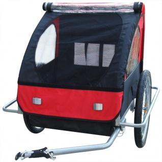 vidaXL Kinder Fahrradanhänger mit zusätzlicher Kupplung Rot 36 kg - Vorschau 4