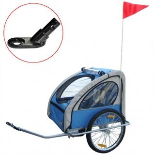 vidaXL Kinder Fahrradanhänger mit zusätzlicher Kupplung Blau 36 kg