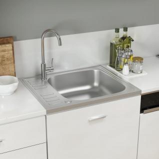vidaXL Küchenspüle mit Abtropfset Silbern 500x600x155 mm Edelstahl