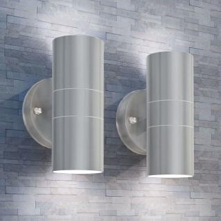 vidaXL LED-Außenwandleuchten 2 Stk. Edelstahl Auf-/Abwärts