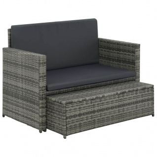 vidaXL 2-tlg. Garten-Lounge-Set mit Auflagen Poly Rattan Grau - Vorschau 3