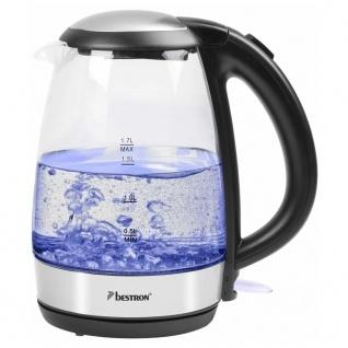 Bestron Digitaler Wasserkocher AWK780G Blau 2200 W 1, 7 L Glas