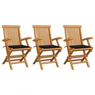vidaXL Gartenstühle mit Schwarzen Kissen 3 Stk. Massivholz Teak