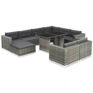 vidaXL 10-tlg. Garten-Lounge-Set mit Auflagen Poly Rattan Grau