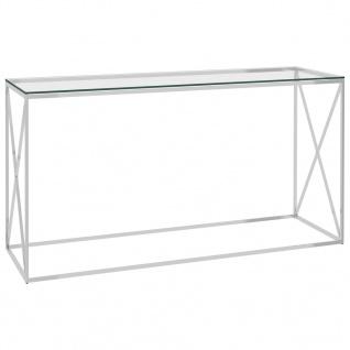 vidaXL Beistelltisch Silbern 140x40x78 cm Edelstahl und Glas