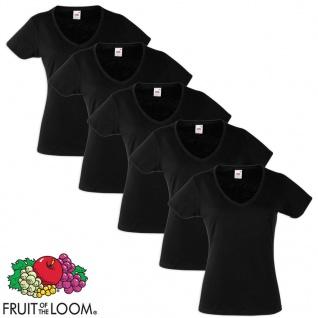 Fruit of the Loom Damen Valueweight T-Shirt 5 St V-Ausschnitt Schw. XL