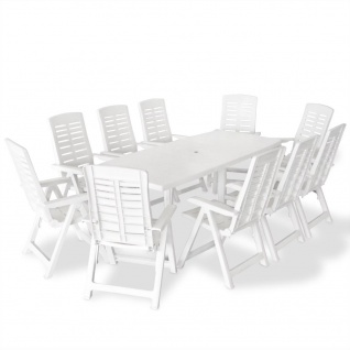 vidaXL 11-tlg. Garten-Essgruppe Kunststoff Weiß