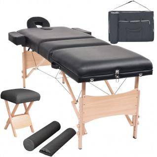 vidaXL Massageliege 3 Zonen Tragbar mit Hocker 10 cm Polster Schwarz