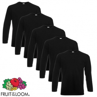 Fruit of the Loom Longsleeve Valueweight T-Shirt 5 Stk. Schwarz L