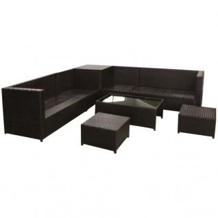 vidaXL 8-tlg. Garten-Lounge-Set mit Auflagen Poly Rattan Braun - Vorschau 4