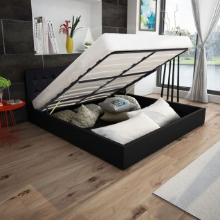 vidaXL Bett mit Gasfeder und Matratze Kunstleder 160x200 cm schwarz