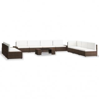vidaXL 10-tlg. Garten-Lounge-Set Poly Rattan Braun